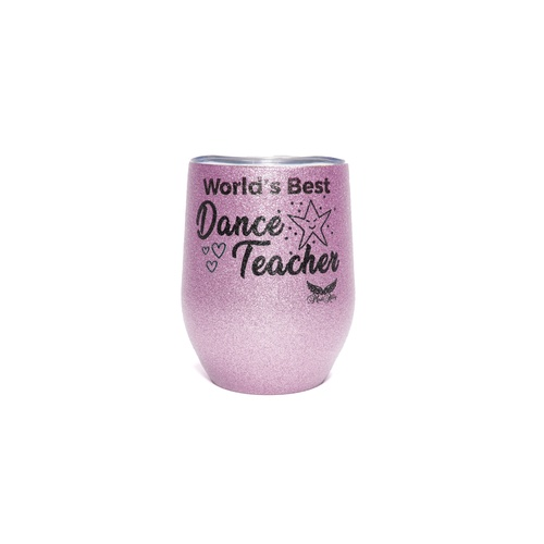 Stemless Glitter Cup Dance Teacher Pink